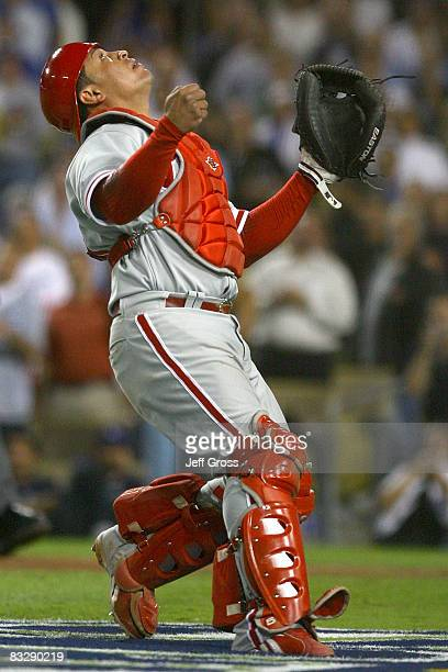 Carlos Ruiz of the Philadelphia Phillies positions himself to catch the popup by Nomar Garciaparra of the Los Angeles Dodgers to win Game Five of the...
