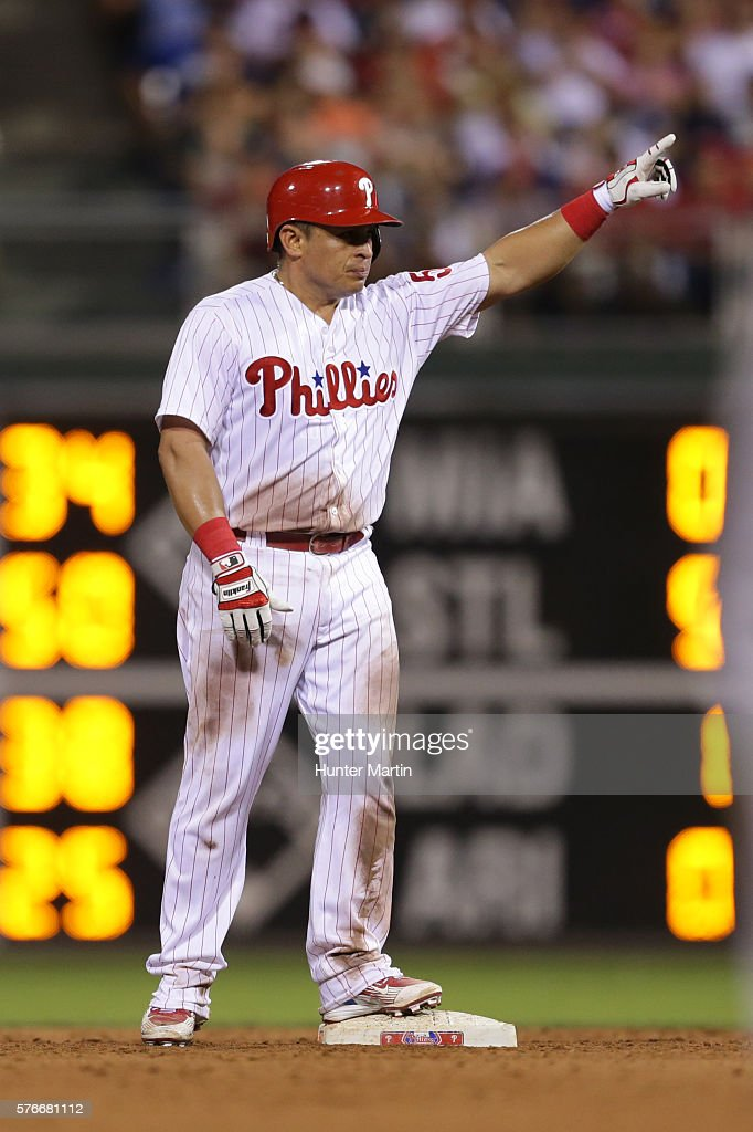 Carlos Ruiz #51 of the Philadelphia Phillies reacts after doubling in the eighth inning during a game against the New York Mets at Citizens Bank Park on July 16, 2016 in Philadelphia, Pennsylvania. The Phillies won 4-2.