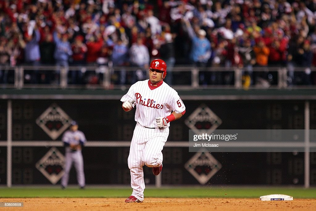Carlos Ruiz #51 of the Philadelphia Phillies runs the bases on his solo home run in the bottom of the second inning against the Tampa Bay Rays during game three of the 2008 MLB World Series on October 25, 2008 at Citizens Bank Park in Philadelphia, Pennsylvania.