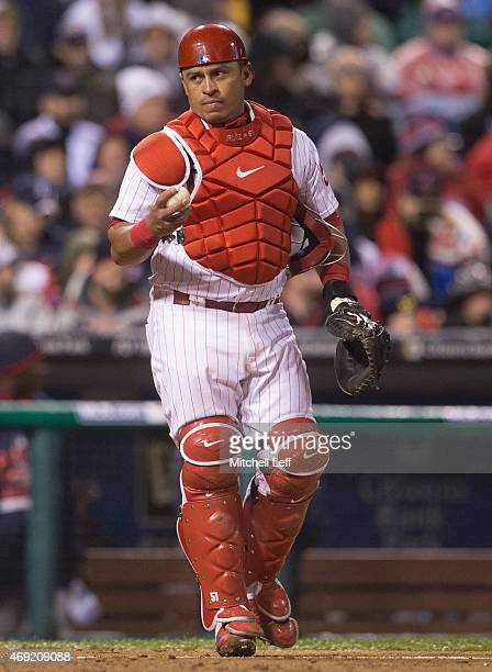 Carlos Ruiz of the Philadelphia Phillies throws the ball back to the pitcher in the game against the Boston Red Sox at Citizens Bank Park on April 8...