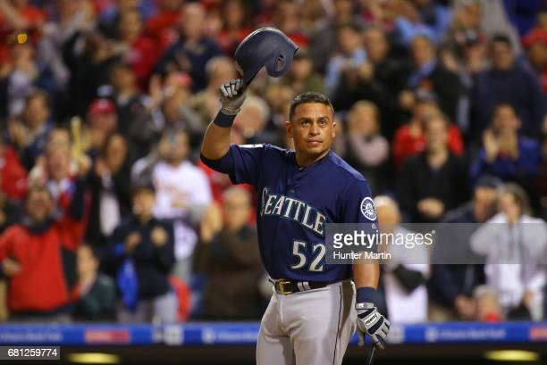 Carlos Ruiz of the Seattle Mariners acknowledges cheers from fans before he pinch hits in the eighth inning during a game against the Philadelphia...