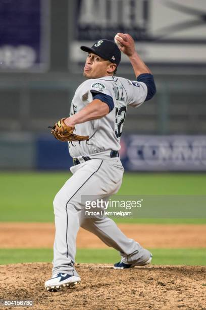 Carlos Ruiz of the Seattle Mariners pitches against the Minnesota Twins on June 13 2017 at Target Field in Minneapolis Minnesota The Twins defeated...