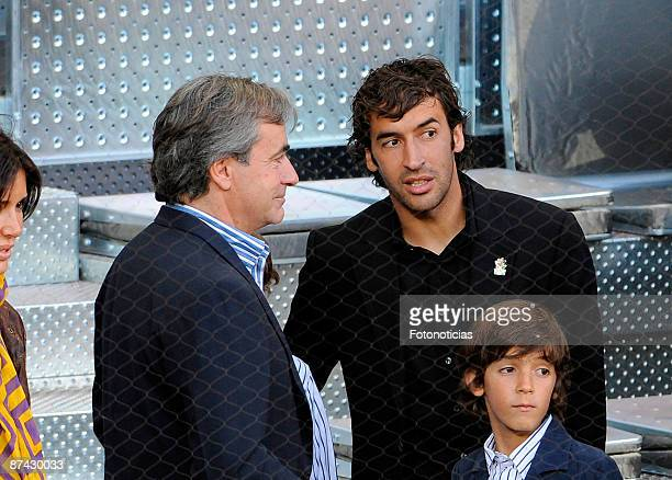 Carlos Sainz and Real Madrid player Raul Gonzalez attend Madrid Open tennis tournament at La Caja Magica on May 15 2009 in Madrid Spain
