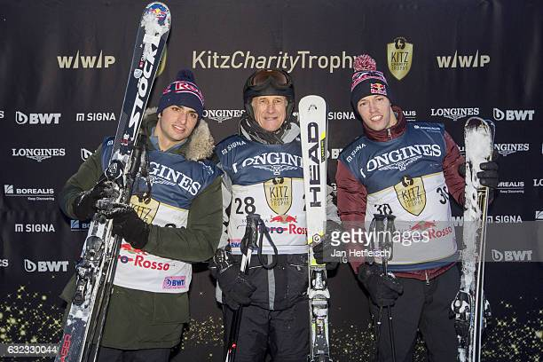 Carlos Sainz jr Franz Tost and Daniil Kvyat pose for a picture during the KitzCharityTrophy on January 21 2017 in Kitzbuehel Austria