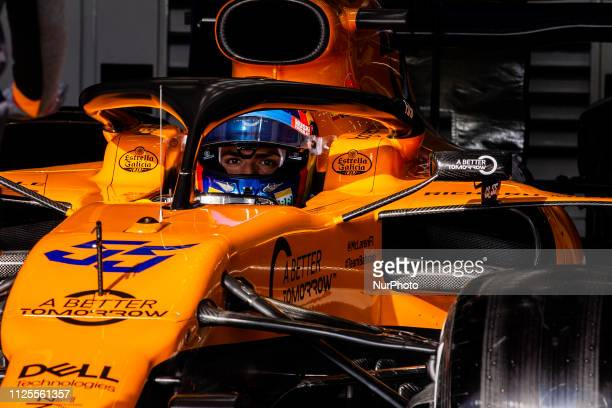 Carlos Sainz Jr from Spain with 55 Mclaren F1 Team Renault MCL34 in action at the pitlane during the Formula 1 2019 PreSeason Tests at Circuit de...