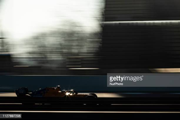 Carlos Sainz Jr from Spain with 55 Mclaren F1 Team Renault MCL34 in action during the Formula 1 2019 PreSeason Tests at Circuit de Barcelona...