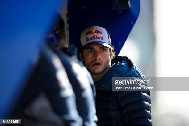 Carlos Sainz Jr from Toro Rosso during the Formula One preseason tests on May 7 2017 in Barcelona Spain