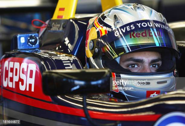 Carlos Sainz Jr of Spain driver of the Red Bull Carlin Dallara F312 Volkswagen before the start of the Cooper Tires British Formula 3 International...