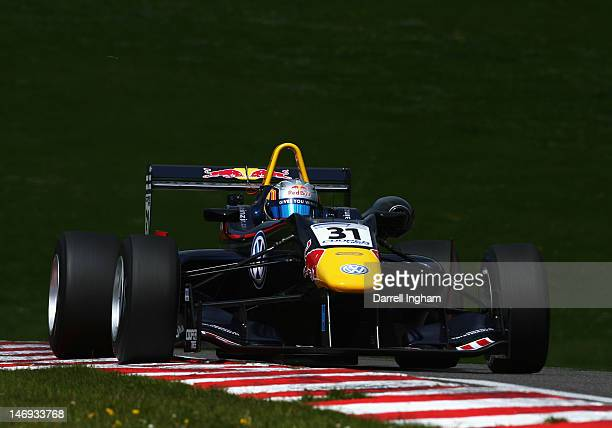 Carlos Sainz Jr of Spain drives the Red Bull Carlin Dallara F312 Volkswagen during practice for the Cooper Tires British Formula 3 Championship race...