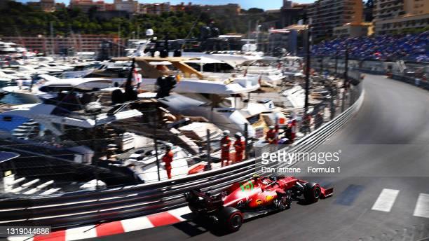 Carlos Sainz Jr. Of Spain driving the Scuderia Ferrari SF21 during practice ahead of the F1 Grand Prix of Monaco at Circuit de Monaco on May 20, 2021...