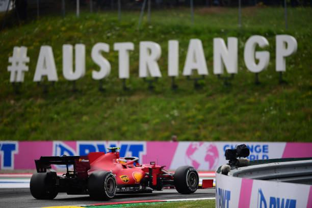Carlos Sainz of Scuderia Mission Winnow Ferrari drive his SF21 single-seater during race of Austrian Grand Prix, 9th round of Formula One World...
