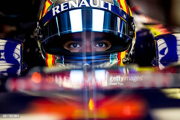 Carlos Sainz of Scuderia Toro Rosso and Spain during practice for the Formula One Grand Prix of Hungary at Hungaroring on July 24 2015 in Budapest...