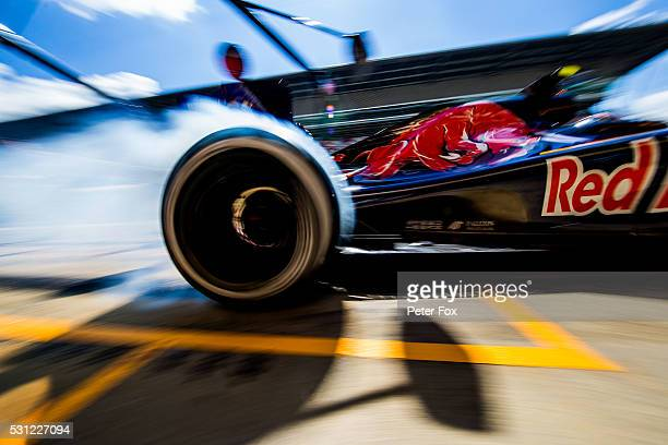 Carlos Sainz of Scuderia Toro Rosso and Spain during practice for the Spanish Formula One Grand Prix at Circuit de Catalunya on May 13 2016 in...
