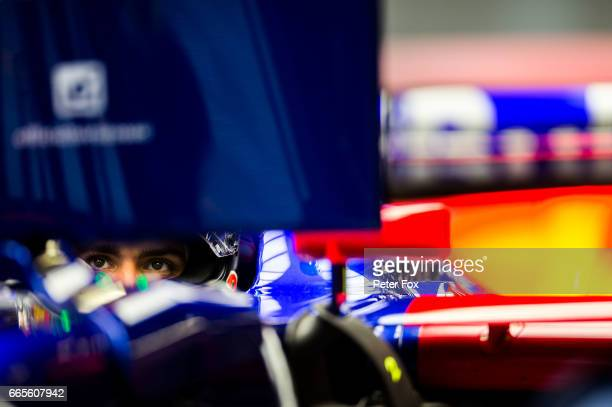 Carlos Sainz of Scuderia Toro Rosso and Spain during practice for the Formula One Grand Prix of China at Shanghai International Circuit on April 7...