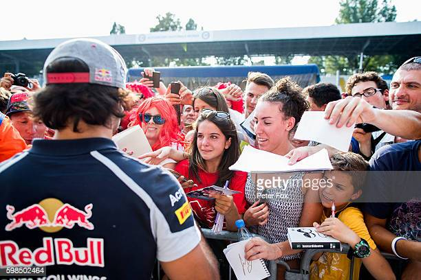 Carlos Sainz of Scuderia Toro Rosso and Spain during previews for the Formula One Grand Prix of Italy at Autodromo di Monza on September 1 2016 in...