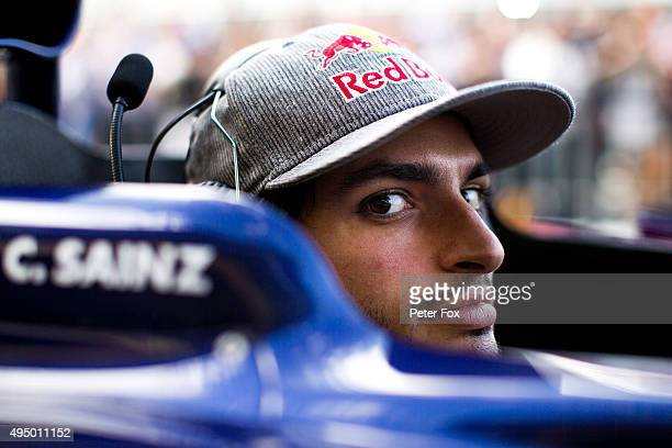 Carlos Sainz of Scuderia Toro Rosso and Spain during previews to the Formula One Grand Prix of Mexico at Autodromo Hermanos Rodriguez on October 29,...