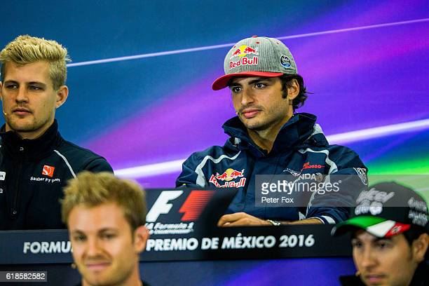 Carlos Sainz of Scuderia Toro Rosso and Spain during previews to the Formula One Grand Prix of Mexico at Autodromo Hermanos Rodriguez on October 27...