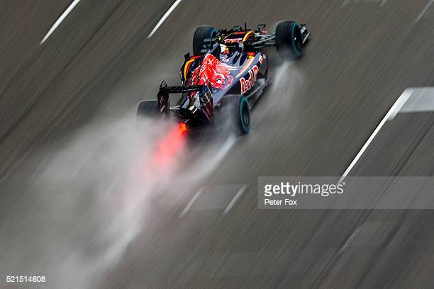 Carlos Sainz of Scuderia Toro Rosso and Spain during qualifying for the Formula One Grand Prix of China at Shanghai International Circuit on April 16...