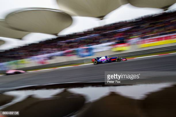 Carlos Sainz of Scuderia Toro Rosso and Spain during the Formula One Grand Prix of China at Shanghai International Circuit on April 9 2017 in...