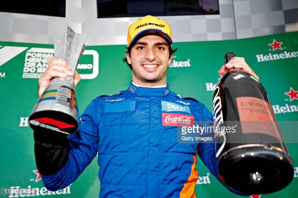 Carlos Sainz of Spain and McLaren F1 celebrates after later being awarded third place in the F1 Grand Prix of Brazil at Autodromo Jose Carlos Pace on...