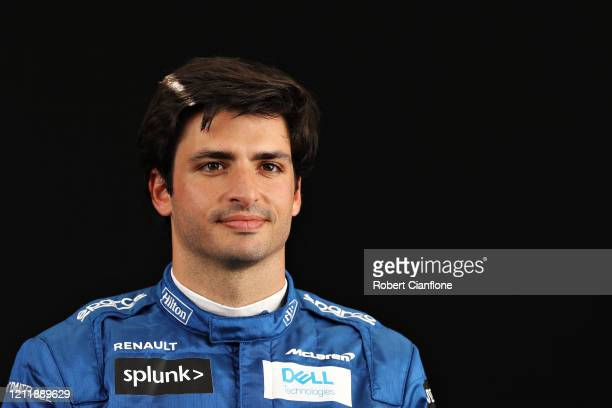 Carlos Sainz of Spain and McLaren F1 poses for a photo in the Paddock during previews ahead of the F1 Grand Prix of Australia at Melbourne Grand Prix...