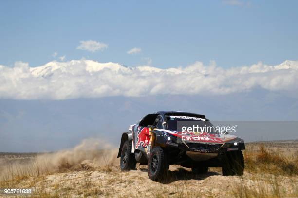Carlos Sainz of Spain and Peugeot Total drives with co-driver Lucas Cruz of Spain in the 3008 DKR Peugeot car in the Classe : T1.4 2 Roues Motrices,...