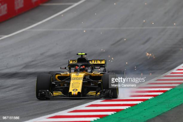 Carlos Sainz of Spain and Renault on track during practice for the Formula One Grand Prix of Austria