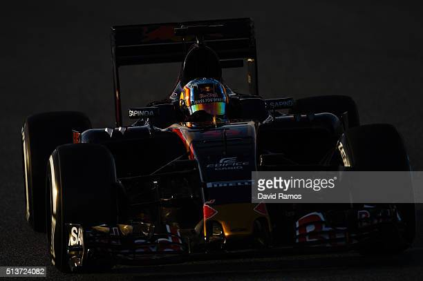 Carlos Sainz of Spain and Scuderia Toro Rosso drives during day four of F1 winter testing at Circuit de Catalunya on March 4 2016 in Montmelo Spain