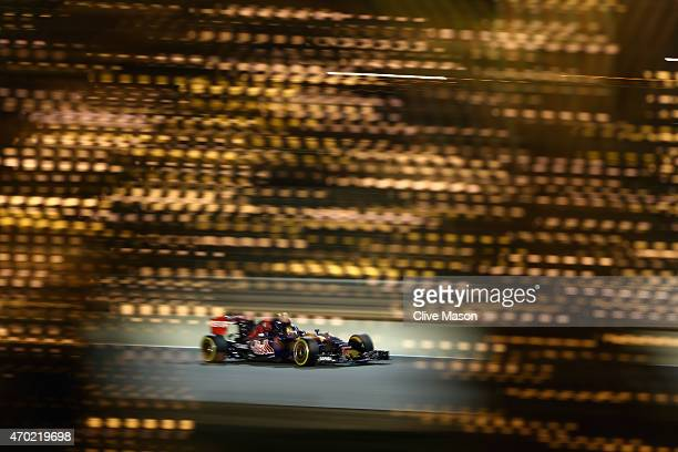 Carlos Sainz of Spain and Scuderia Toro Rosso drives during qualifying for the Bahrain Formula One Grand Prix at Bahrain International Circuit on...