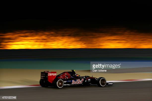 Carlos Sainz of Spain and Scuderia Toro Rosso drives during practice for the Bahrain Formula One Grand Prix at Bahrain International Circuit on April...