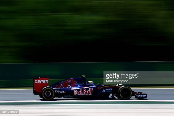 Carlos Sainz of Spain and Scuderia Toro Rosso drives during practice for the Formula One Grand Prix of Hungary at Hungaroring on July 24 2015 in...