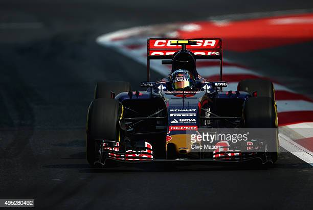 Carlos Sainz of Spain and Scuderia Toro Rosso drives during the Formula One Grand Prix of Mexico at Autodromo Hermanos Rodriguez on November 1 2015...