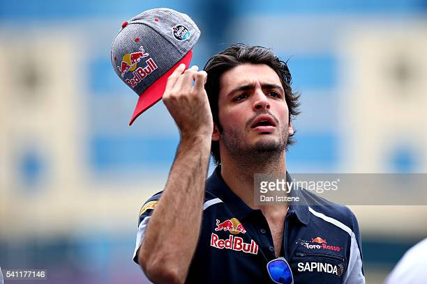 Carlos Sainz of Spain and Scuderia Toro Rosso in the Paddock before the European Formula One Grand Prix at Baku City Circuit on June 19 2016 in Baku...