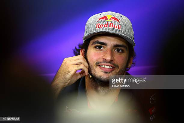Carlos Sainz of Spain and Scuderia Toro Rosso looks on at a press conference during previews to the Formula One Grand Prix of Mexico at Autodromo...