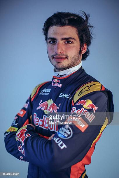 Carlos Sainz of Spain and Scuderia Toro Rosso poses for a portrait during day three of Formula One Winter Testing at Circuit de Catalunya on February...