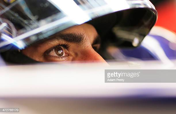 Carlos Sainz of Spain and Scuderia Toro Rosso sits in his car in the garage during final practice for the Spanish Formula One Grand Prix at Circuit...