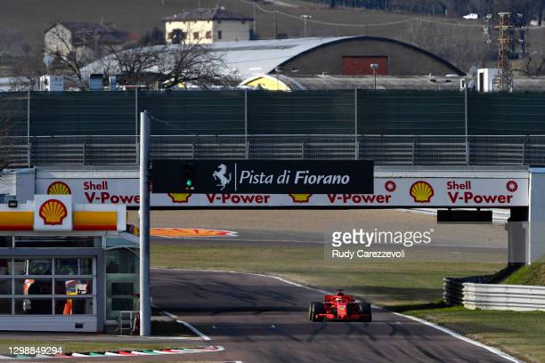 Carlos Sainz of Spain drives the Scuderia Ferrari 2018-spec SF71H on track during a five-day test at Fiorano Circuit on January 27, 2021 in Fiorano...