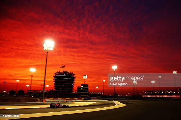 Carlos Sainz of Spain drives the Scuderia Toro Rosso STR11 Ferrari 059/5 turbo on track during practice for the Bahrain Formula One Grand Prix at...