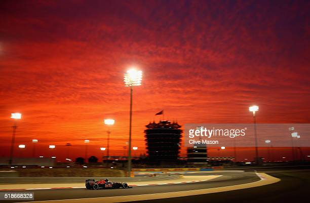 Carlos Sainz of Spain drives the Scuderia Toro Rosso STR11 Ferrari 059/5 turbo on track during practice for the Bahrain Formula One Grand Prix at...