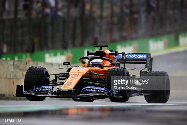 Carlos Sainz of Spain driving the McLaren F1 Team MCL34 Renault in the Pitlane during practice for the F1 Grand Prix of Brazil at Autodromo Jose...