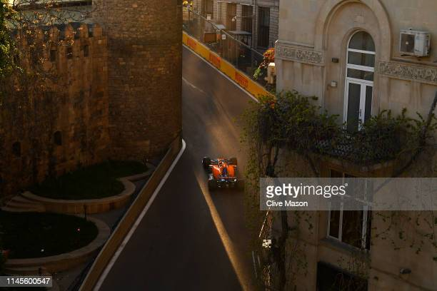 Carlos Sainz of Spain driving the McLaren F1 Team MCL34 Renault on track during qualifying for the F1 Grand Prix of Azerbaijan at Baku City Circuit...