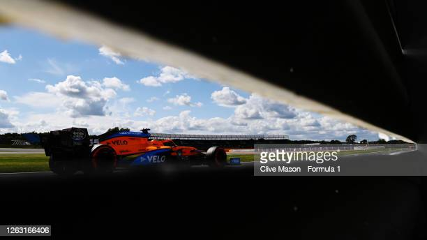Carlos Sainz of Spain driving the McLaren F1 Team MCL35 Renault during qualifying for the F1 Grand Prix of Great Britain at Silverstone on August 01,...