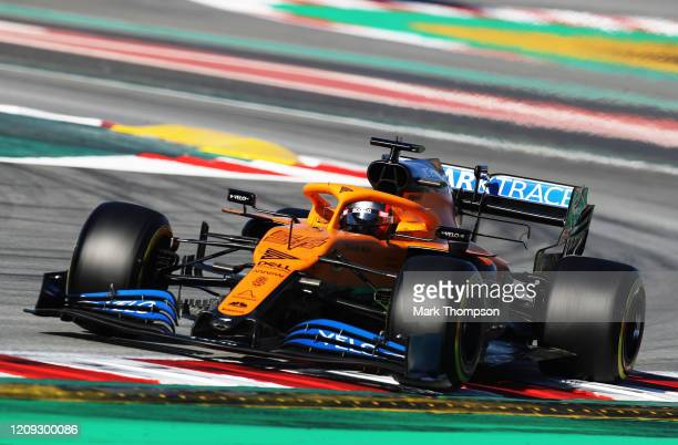 Carlos Sainz of Spain driving the McLaren F1 Team MCL35 Renault on track during Day Three of F1 Winter Testing at Circuit de BarcelonaCatalunya on...
