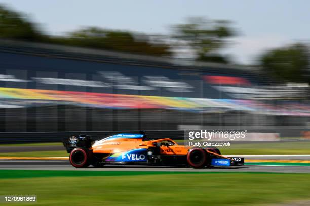 Carlos Sainz of Spain driving the McLaren F1 Team MCL35 Renault on track during the F1 Grand Prix of Italy at Autodromo di Monza on September 06,...
