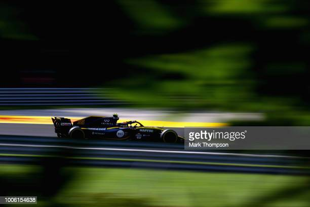 Carlos Sainz of Spain driving the Renault Sport Formula One Team RS18 on track during practice for the Formula One Grand Prix of Hungary at...