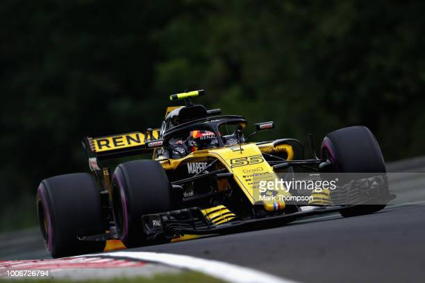 Carlos Sainz of Spain driving the Renault Sport Formula One Team RS18 on track during qualifying for the Formula One Grand Prix of Hungary at...