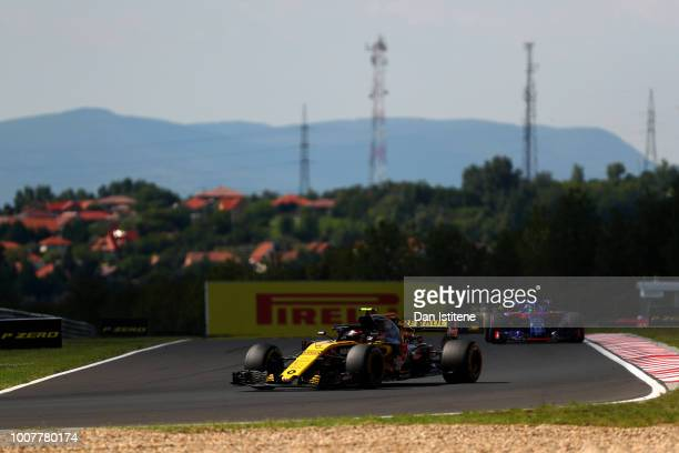 Carlos Sainz of Spain driving the Renault Sport Formula One Team RS18 during the Formula One Grand Prix of Hungary at Hungaroring on July 29 2018 in...