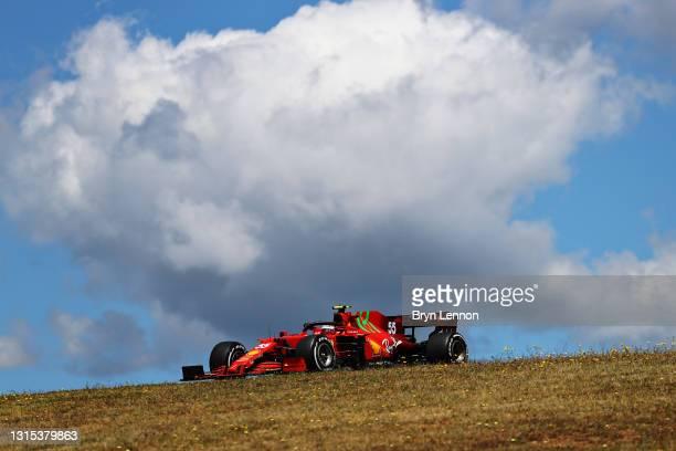 Carlos Sainz of Spain driving the Scuderia Ferrari SF21 during practice ahead of the F1 Grand Prix of Portugal at Autodromo Internacional Do Algarve...