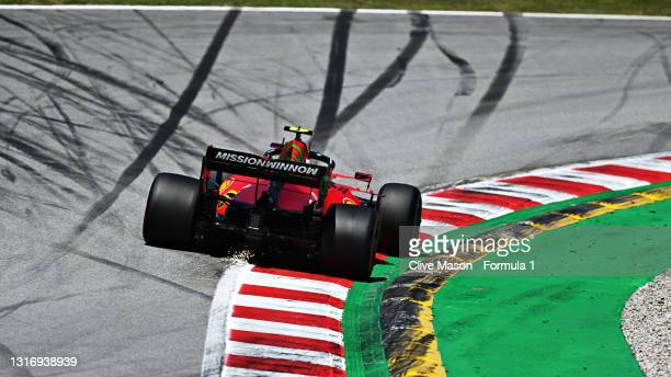 Carlos Sainz of Spain driving the Scuderia Ferrari SF21 during final practice for the F1 Grand Prix of Spain at Circuit de Barcelona-Catalunya on May...