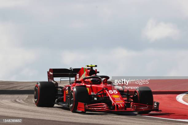 Carlos Sainz of Spain driving the Scuderia Ferrari SF21 during final practice ahead of the F1 Grand Prix of USA at Circuit of The Americas on October...